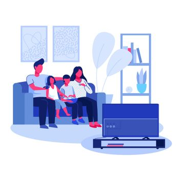 Parent couple, boy and girl watching TV