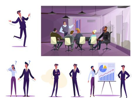 Set of business people at work