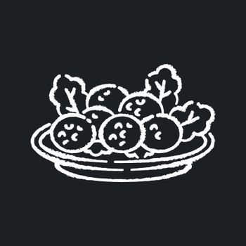 Falafel chalk white icon on black background. Deep fried ball dish. Traditional eastern meal. Japanese tempura. National dish recipe. Fast food. Isolated vector chalkboard illustration