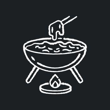 Cheese fondue chalk white icon on black background