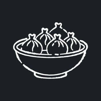 Khinkali chalk white icon on black background. Georgian meal recipe. Chinese dumpling. Oriental dish. National culinary, traditional cuisine. Cookery recipe. Isolated vector chalkboard illustration