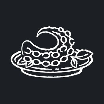 Polvo chalk white icon on black background. Portuguese octopus meal. Traditional dish with fresh seafood. Japanese nutritious fish. Oriental cuisine. Isolated vector chalkboard illustration