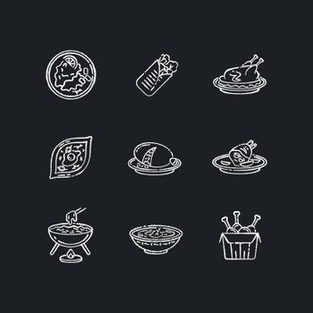 Cafe meals chalk white icons set on black background. Wrapped shawarma with meat and lettuce. Peking duck. Ukrainian borscht. Khachapuri recipe. Fast food. Isolated vector chalkboard illustrations