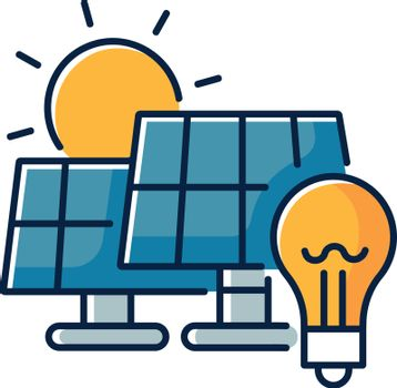Solar power station RGB color icon. Renewable energy, alternative electricity manufacturing. Power plant with photovoltaic panels isolated vector illustration