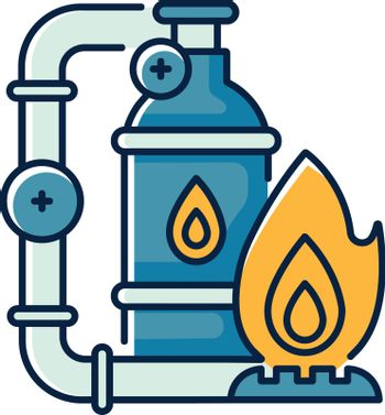 Gas industry RGB color icon. Energy business. Natural resources exploitation. Crude materials, fossil fuel manufacturing. Gas supply isolated vector illustration