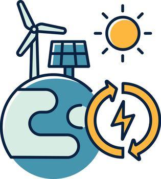 Renewable energy RGB color icon