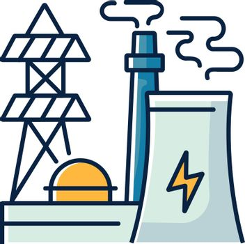 Energy industry RGB color icon. Electricity manufacturing, environment pollution technology. Modern power plant, electric station isolated vector illustration