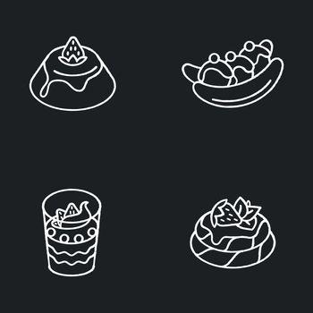 Popular sweets chalk white icons set on black background