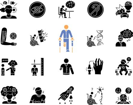 Disability types black glyph icons set on white space