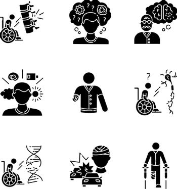 Patient with disability black glyph icons set on white space