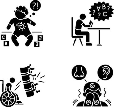 Chronic disease black glyph icons set on white space. Developmental delay. Child with disability. Difficulty with reading from dyslexia. Silhouette symbols. Vector isolated illustration