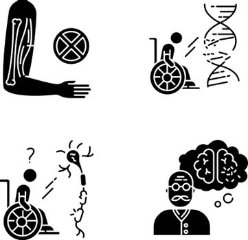 Disability black glyph icons set on white space