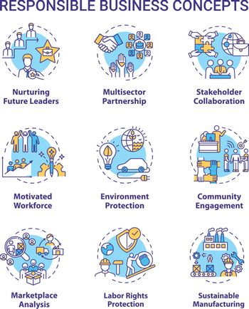 Responsible business concept icons set