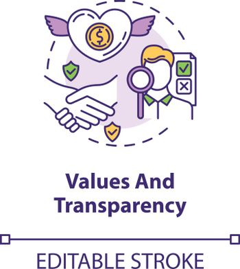 Values and transparency concept icon