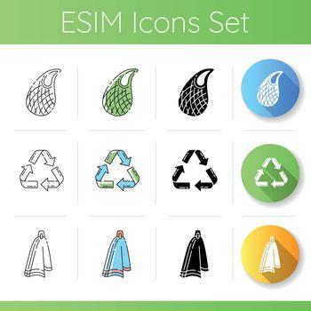 Zero waste products icons set
