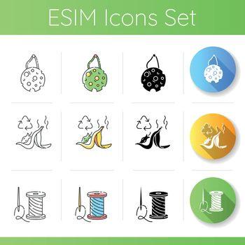 Zero waste lifestyle icons set