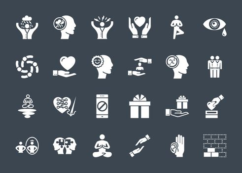 Conscious Living and Friends Relations Glyph Related Icons Set. Isolated on Black Background. Simple Black Pictogram Pack Vector Logo Concept for Web.