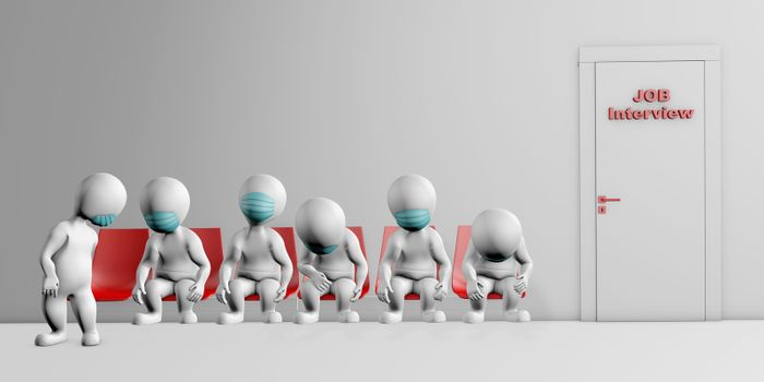 People with masks feeling sad waiting next to the door for job interview concept 3d rendering