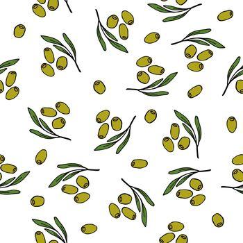 Seamless olives pattern. Vector illustration.