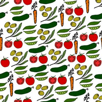 Seamless vegetable pattern. Vector illustration including olives, cucumbers, tomatoes, peas, carrots.