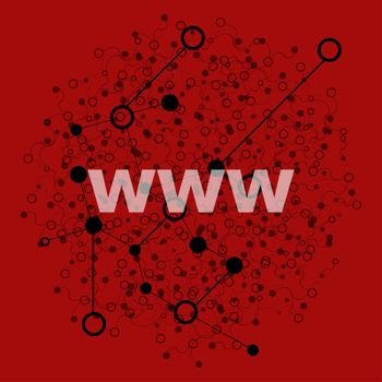 Text www. Web design concept . Abstract background with connecting dots and lines