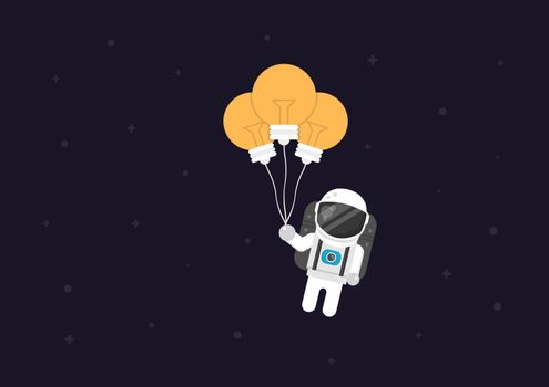 astronaut flying with balloon