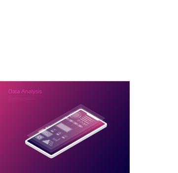Data analysis, hologram icon with Isometric smartphone
