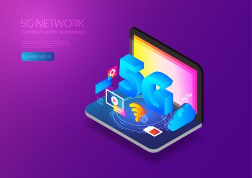 5G network wireless technology, Isometric computer with gadget
