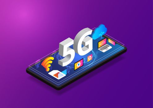 5G network wireless technology, Isometric smartphone with gadget