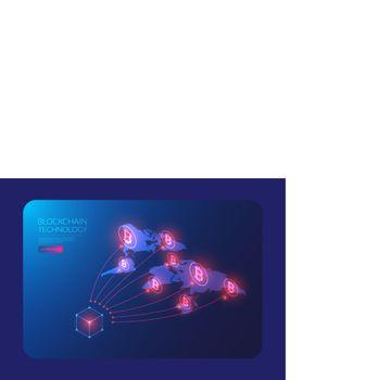isometric bitcoin global network, blockchain technology