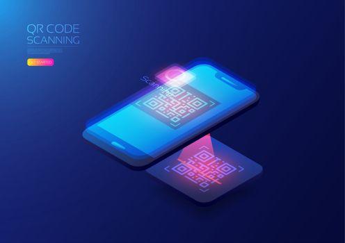 qr code scanner, isometric illustration