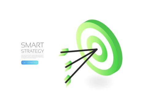 Isometric dartboard, business concept, isolaed on white background