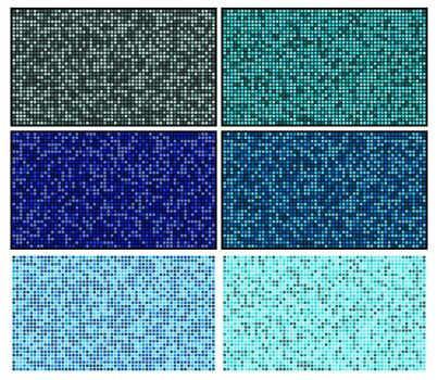 Bathroom mosaic tile set. Blue swimming pool flooring with squares. Illustration of turquoise pixel tiles. Modern decorate block tiled for kitchen patterns. Azure checkered classic structure toilet.