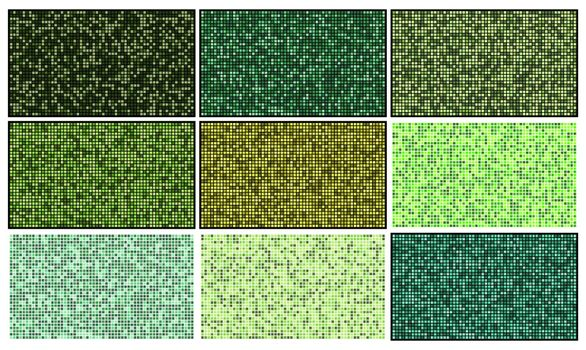 Mosaic patterns set. Green square abstract wallpaper collection. Backgrounds with pixel grid effect. Template of geometric blocks in mixed colours. Squares shape tiled eco cover textured illustration.