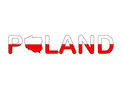 Poland text with map flag in patriot polish red and white colours isolated on white. Abstract geography infographic with lettering template. Illustration with words with cartography atlas map.