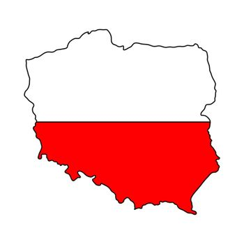 Polish map flag isolated on white vector file. red and white patriotic colours of poland nation. Cartography illustration icon, design. simple design element template for prints. Eps 10 format.