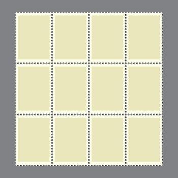 Postage marks set. Sheet of 12 blank postal stamps for postcard or envelopes. Vintage empty stamp with perforated edge for letter. Retro border or frame illustration. New connected mail sticker.