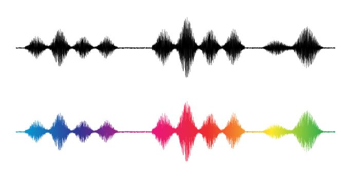 Sound wave. Silhouette and rainbow colours waveform. Frequency amplifier illustration. Audio, diagram. Wave background or equalizer pulse abstract patterns. Shape music volume level isolated on white.