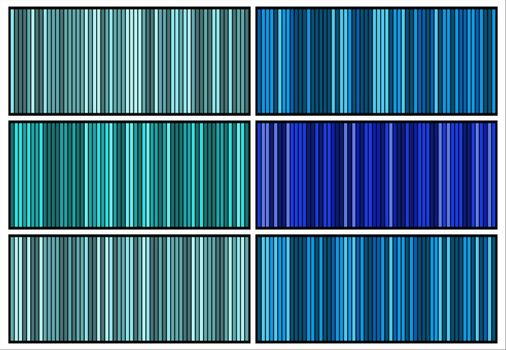 Striped textured wallpaper. Blue classic and elegant fabric background set. Vertical turquoise stripes walls patterns collection. Trendy colour bars for web page, banners or old fashioned designs.