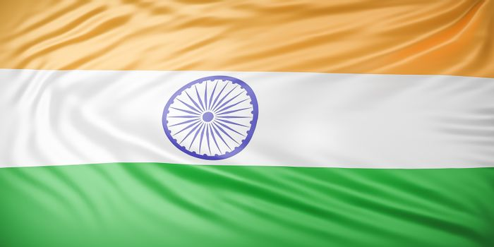Beautiful India Flag Wave Close Up on banner background with copy space.,3d model and illustration.