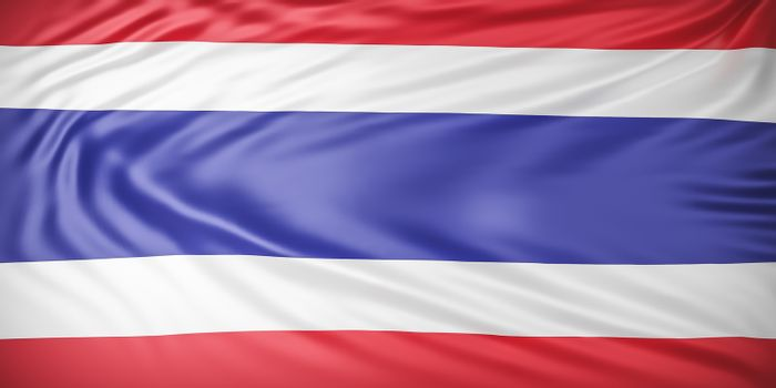 Beautiful Thailand Flag Wave Close Up on banner background with copy space.,3d model and illustration.
