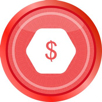 web icon cloud with dollars money sign button