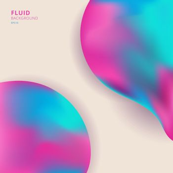 Abstract 3D creative fluid colorful shape. Trendy liquid shape gradient element blue and pink color. You can use for cover brochure, poster, banner web, presentation, etc. Vector illustration