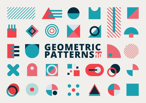 Set of geometric shapes flat design blue and pink color on white background. Circle, square, triangle, rectangle  elements composition for brochure, flyer, banner web, print ad, magazine, etc. Vector illustration