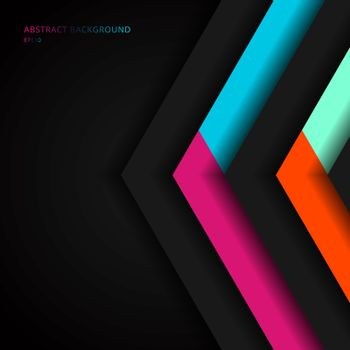 Abstract vibrant color triangle geometric overlap layer on black background technology concept. Arrow shape direction colorful template for cover brochure, poster, banner web, flyer, presentation, etc. Vector illustration