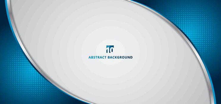 Abstract banner web template 3D dimention blue curve with radial halftone frame isolated on white background. Vector illustration