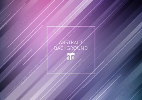 Abstract stripes diagonal geometric lines pattern technology concept on purple gradients background. Vector illustration