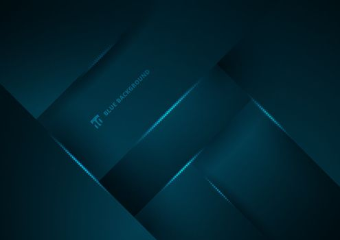 Abstract blue geometric overlap layer background with lighting. Vector illustration