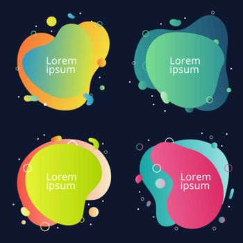 Set of abstract modern fluid colorful shape graphic element banners background. Gradient banner flowing liquid shapes. You can use for template design of a logo, flyer, brochure, poster or presentation. Vector illustration