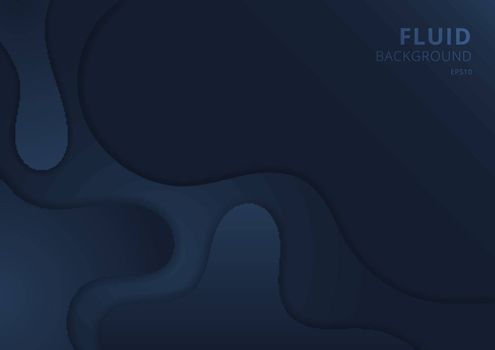 Abstract fluid wave shape dark blue background paper cut style with space for your text. Vector illustration